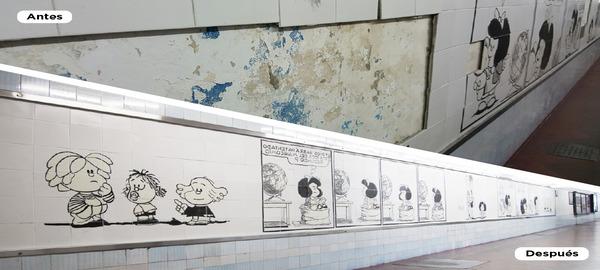 Fue restaurado elmural cerámico El mundo según Mafalda