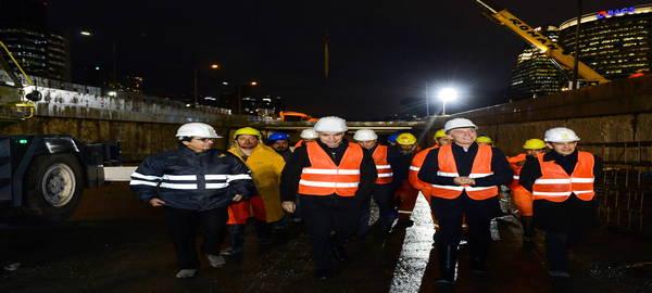 Macri y Larreta visitaron las obras del  Paseo del Bajo